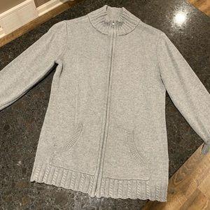 3/4 sleeve zip up sweater